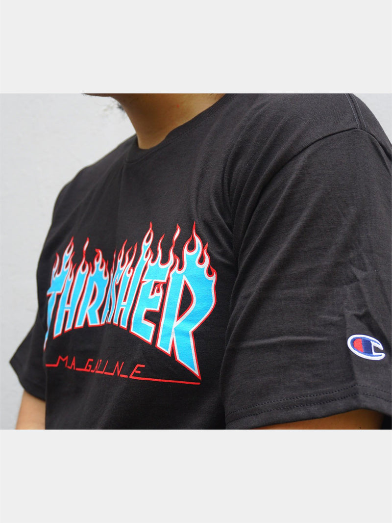 Thrasher x Champion Blue Flame S/S Black