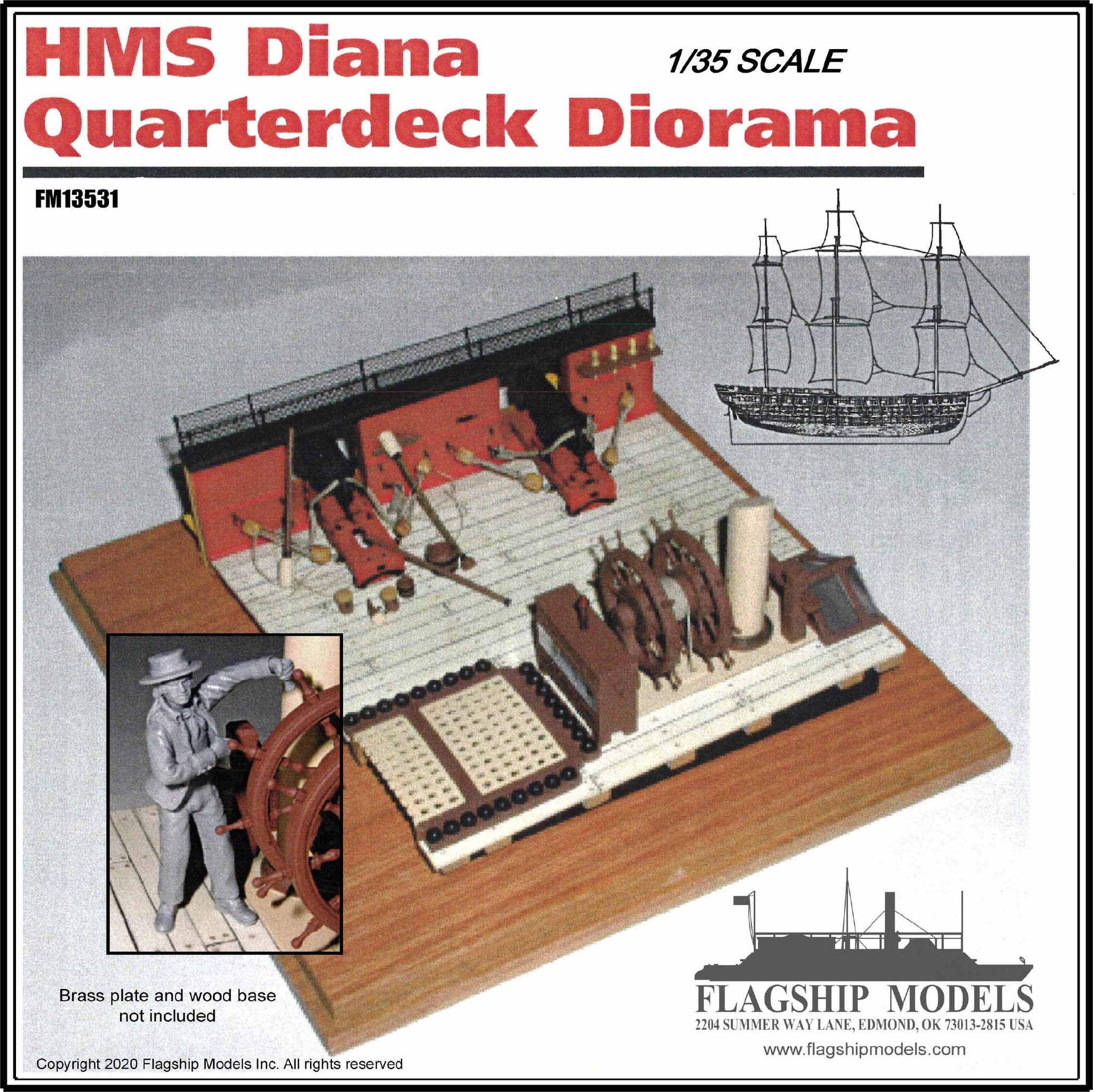 "1/35 scale DIANA QUARTERDECK  (Base 6.5""x 6.5"")"