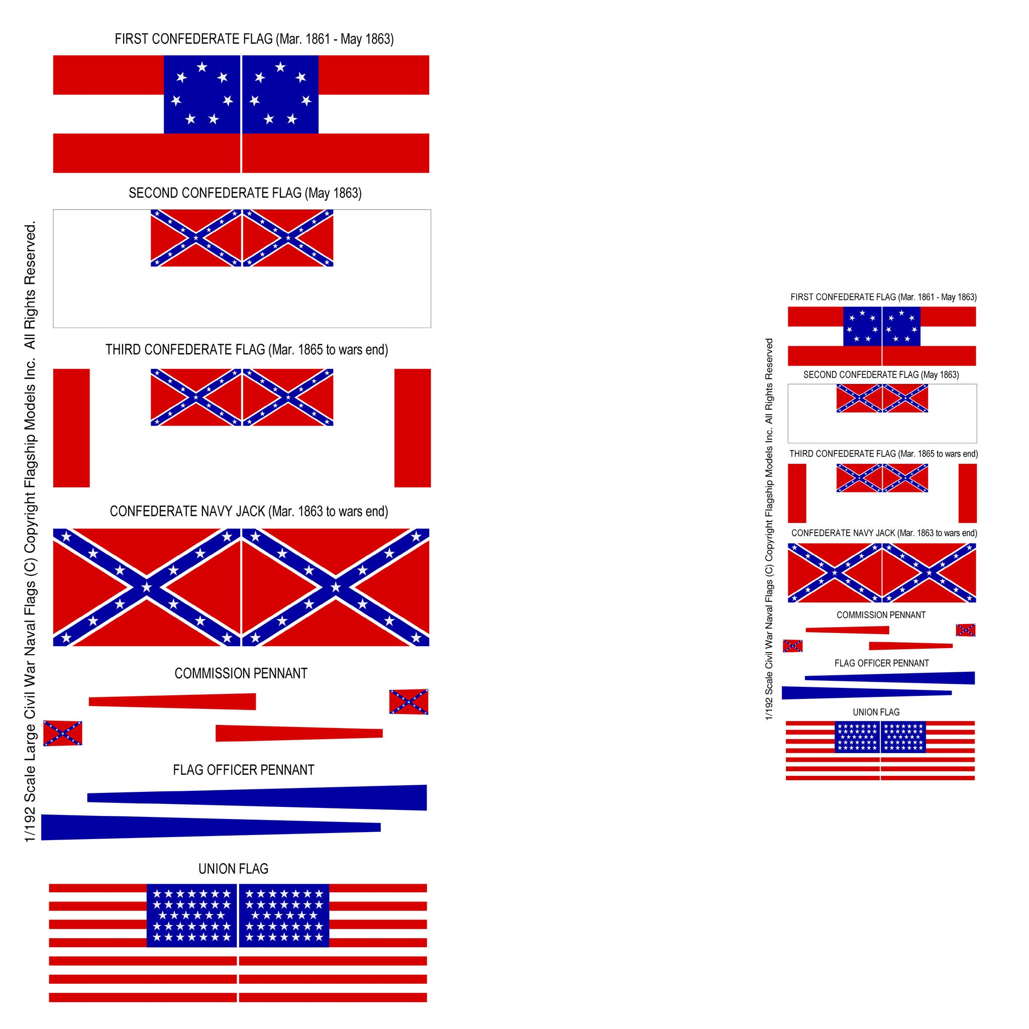 SMALL CONFEDERATE & UNION FLAGS (4.5')