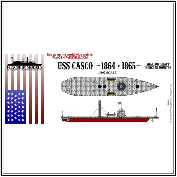 "USS CASCO ironclad torpedo boat (14.5"" long, detail set incl.)"