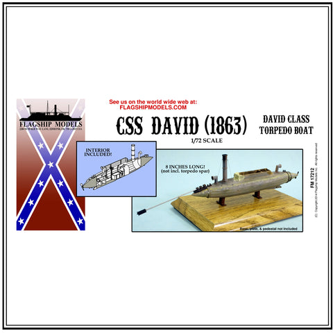 "CSS DAVID (1863) Torpedo Boat with interior (10.5"" long, detail set incl.)"