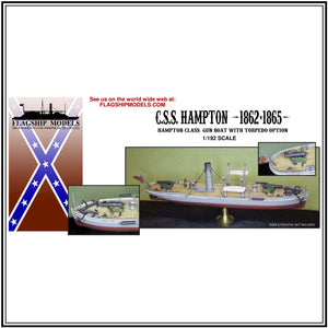 "CSS HAMPTON Maury gun boat (7"" long, detail set incl.)"