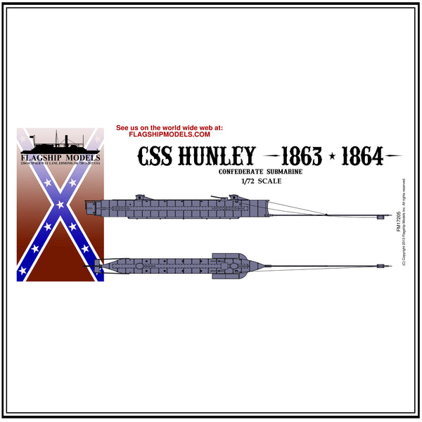 "CSS H.L. HUNLEY Confederate submarine (11.75"" long, detail set incl.)"