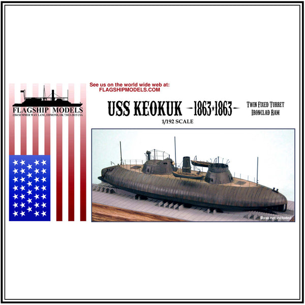 "USS KEOKUK twin turret ironclad ram (9.75"" long, detail set incl.)"