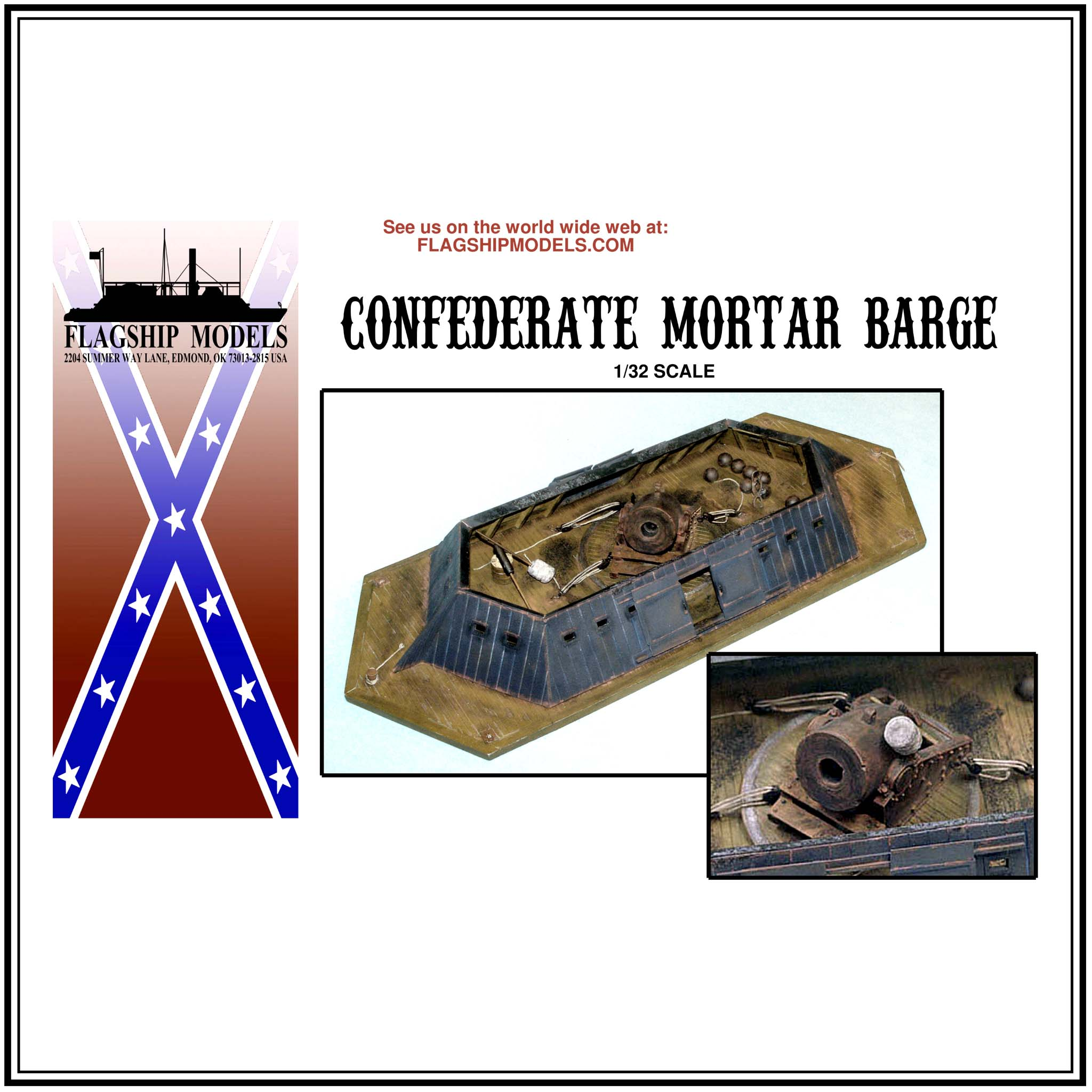 "CONFEDERATE MORTAR BARGE WITH MORTAR (14.5"" long)"