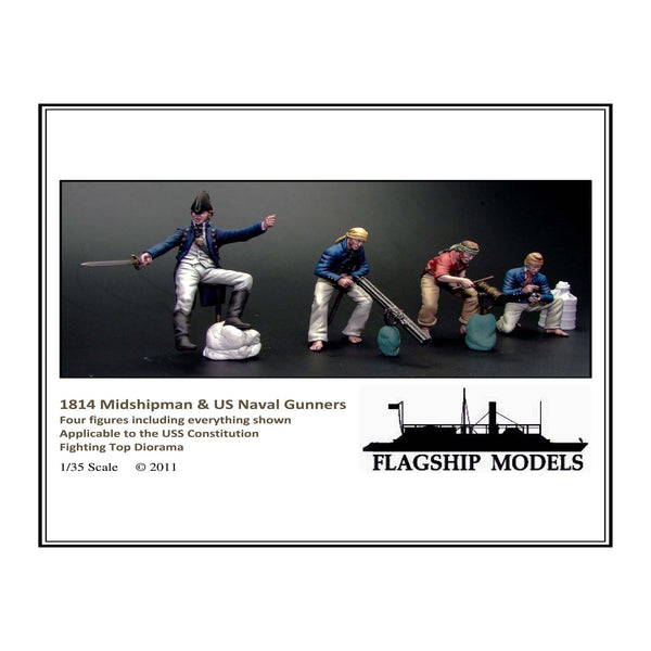 US NAVY MIDSHIPMAN & GUNNERS 4 figs 1/35 scale (1814)