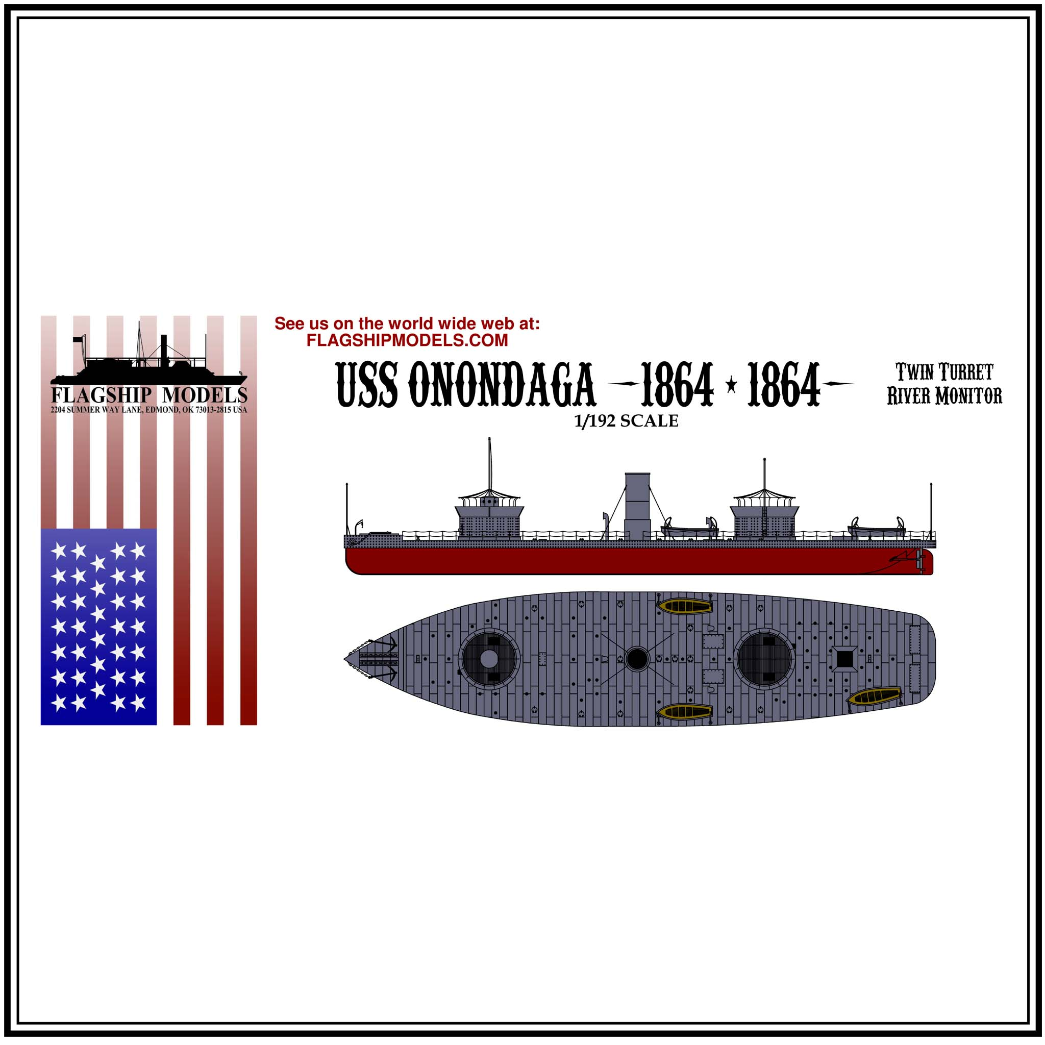 "USS ONANDAGA ironclad ram (14"" long, detail set incl.)"