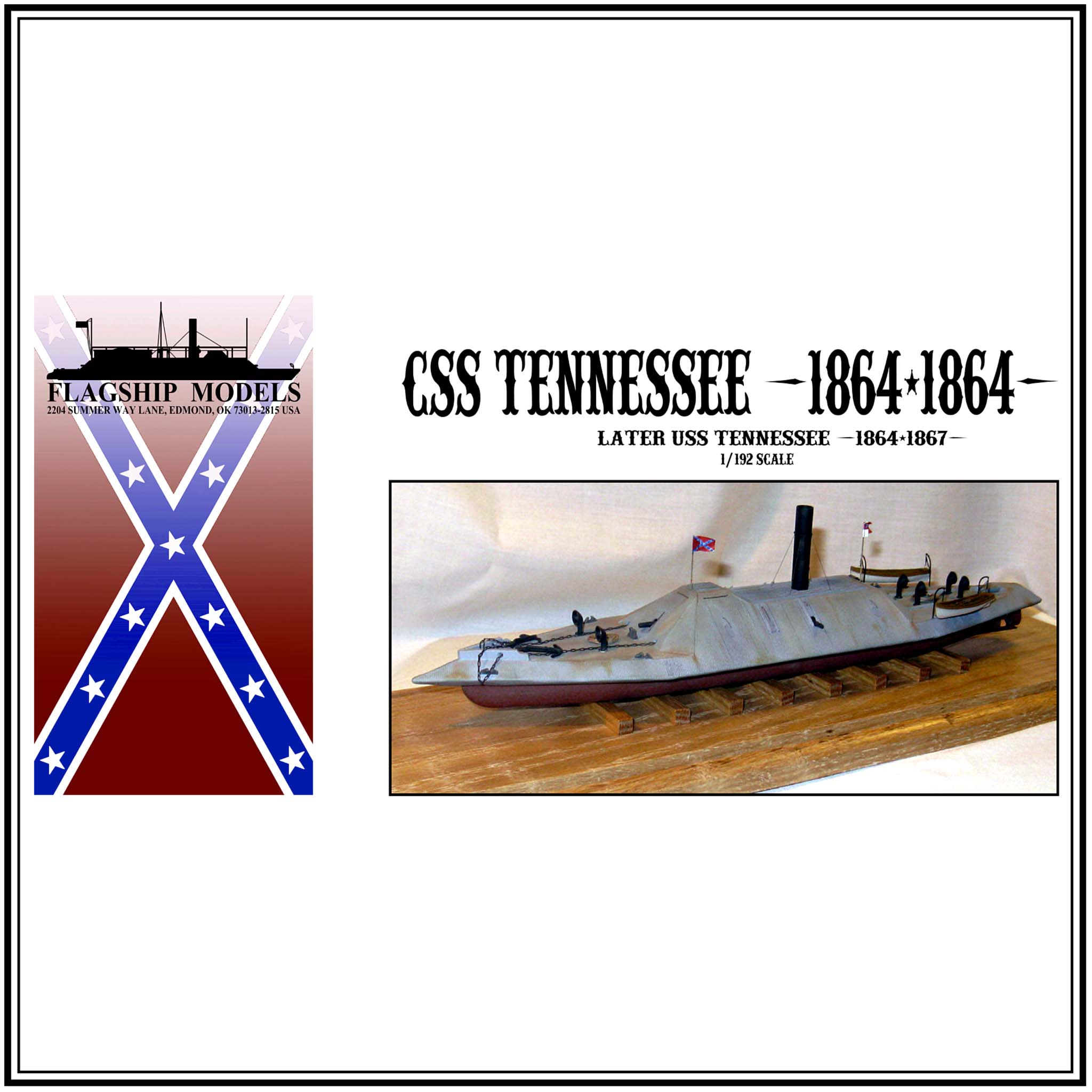 "CSS/USS TENNESSEE ironclad ram (14"" long, detail set incl.)"
