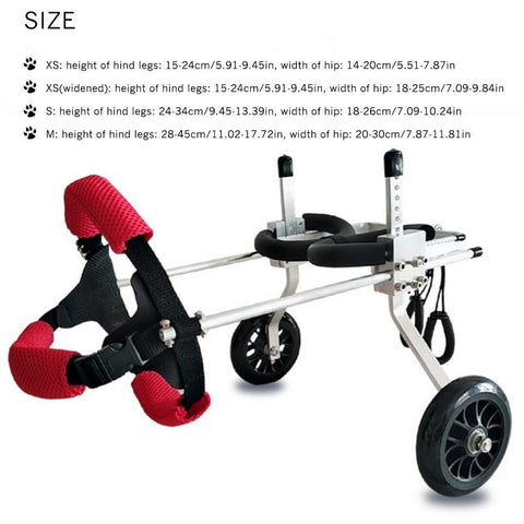 Size Chart Of Pet Wheelchair
