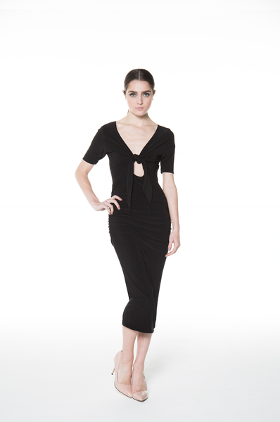 Front-Tie Dress Black