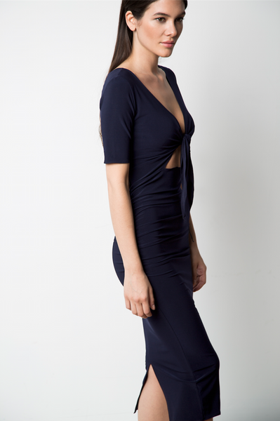 Front-Tie Dress Navy