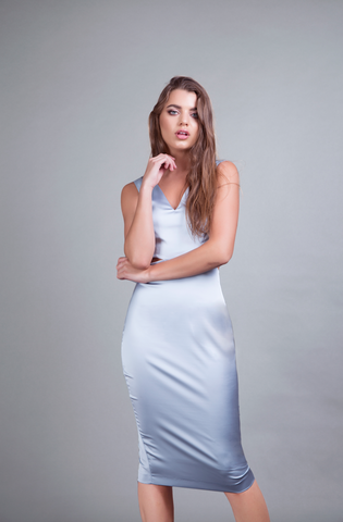 Victoria Dress Baby Blue Satin