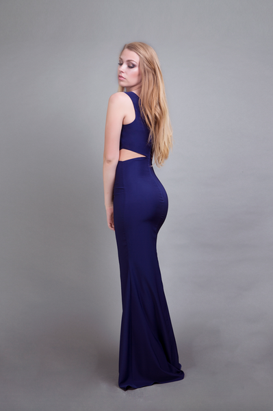 Power Cut-Out Gown Indigo Blue