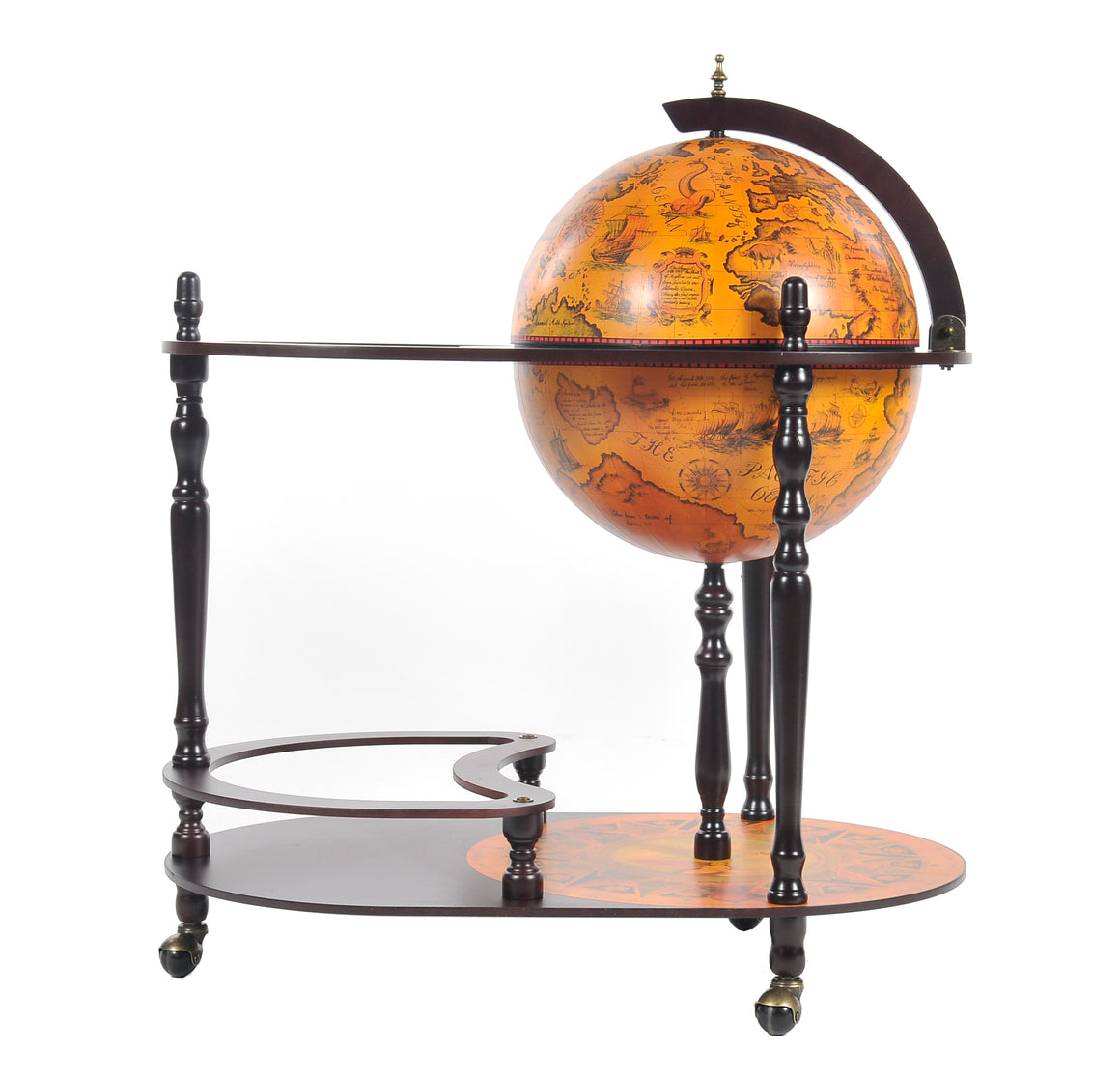 Old Modern Handicrafts 16.5 inch World Globe Trolley - Decor and Gifts Galore