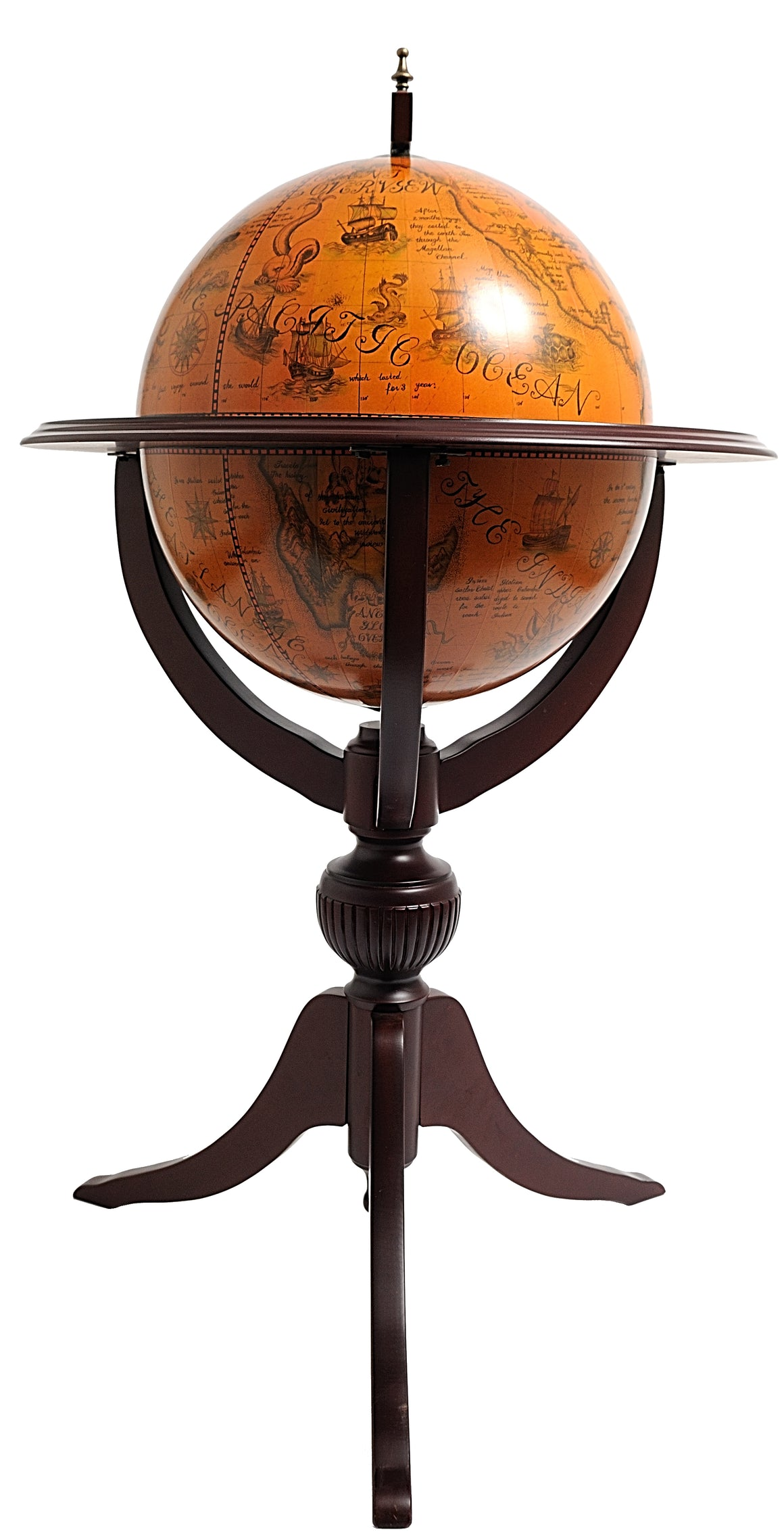 Old Modern Handicrafts World Globe Bar 17 3/4 inch - 3 legs - Decor and Gifts Galore