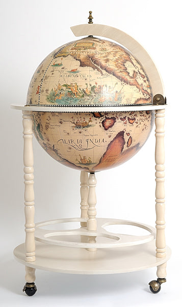 Old Modern Handicrafts 17 3/4 inch World Globe White Cabinet - Decor and Gifts Galore