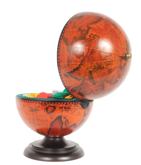 Old Modern Handicrafts World Globe Red Family Game Set Holder - Decor and Gifts Galore