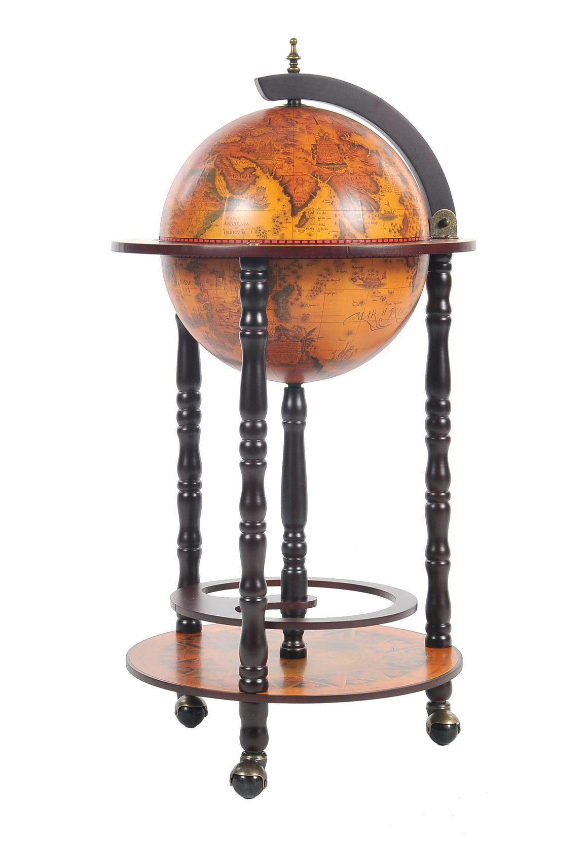 Old Modern Handicrafts World Globe Bar Red Table 330mm 4 Legs Stand - Decor and Gifts Galore
