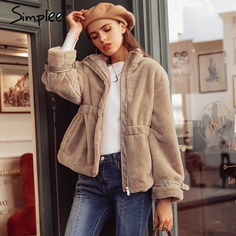 d8221f7f675 Simplee Elegant faux fur coat women 2018 Autumn winter warm soft zipper  fluffy fur jacket Female