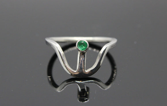 Unique Emerald ring set in 9ct white gold setting and band - Sam Hawkins