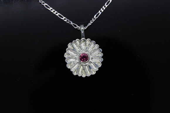 White Gold Flower Necklace with a 3.5mm ruby.