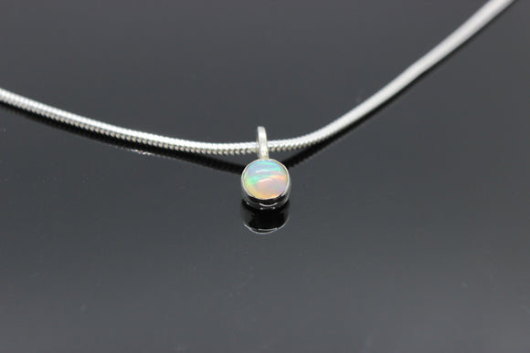 White Gold and AA+ Grade 5mm Opal necklace - Sam Hawkins