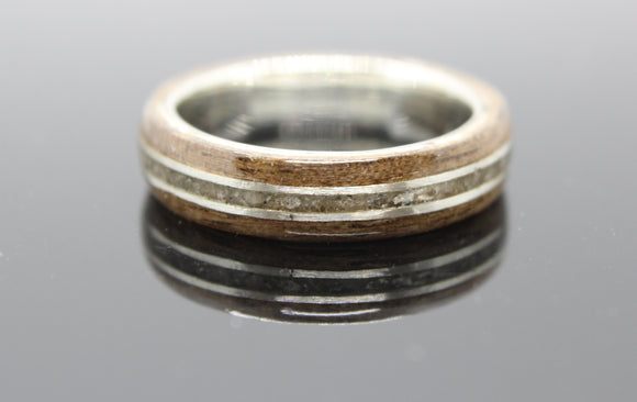 White Gold and Walnut ring with a gold and stone inlay.