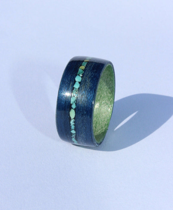 Blue tulipwood and Green tulipwood wooden Ring with a turquoise inlay. bentwood ring. Wooden ring. Wedding ring. Womens ring. Mens ring. - Sam Hawkins