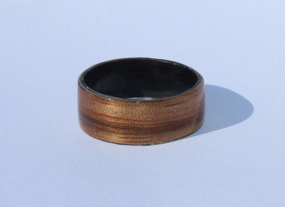 Zebrawood and Black Tulipwood wooden Ring. bentwood ring. Wooden ring. Wedding ring. Womens ring. Mens ring. Bespoke ring. Engagement ring - Sam Hawkins