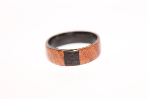 Ebony and Fir Burr wooden Ring with an Ebony Inlay. Bentwood ring. Wooden ring. Wedding ring. Womens ring. Mens ring. Bespoke ring - Sam Hawkins