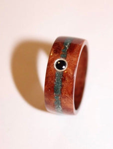 Elm Burr and Kingwood wooden Ring with a jade and Sapphire inlay. bentwood ring. Wooden ring. Wedding ring. Womens ring. Mens ring. - Sam Hawkins