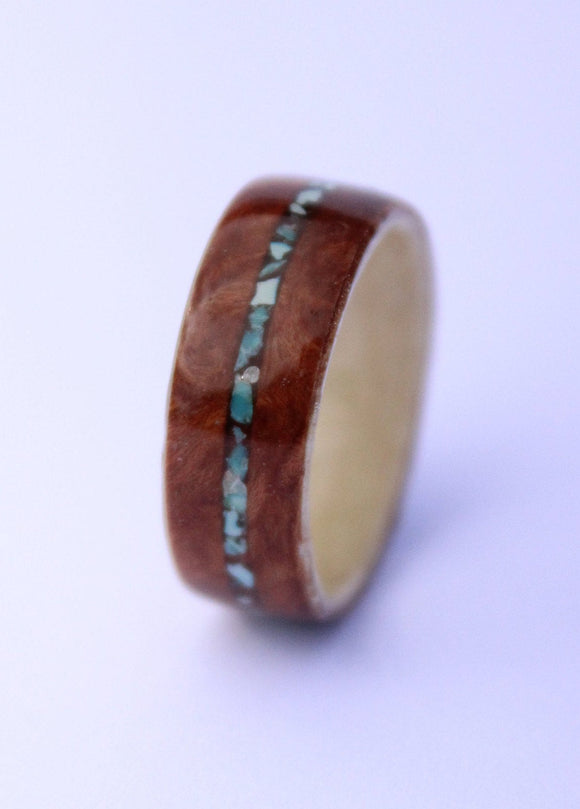 Walnut and Maple wooden Ring with Turquiose inlay. bentwood ring. Wooden ring. Wedding ring. Womens ring. Mens ring. Bespoke ring - Sam Hawkins