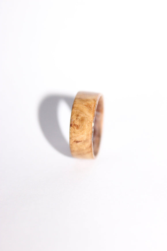 Fir Burr and zebrawood wooden ring. Handmade Wood ring. bentwood ring. Wedding ring. Mens Ring. Womens ring. bespoke ring. engagement ring - Sam Hawkins