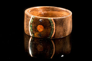 Walnut Burr and Kingwood wooden Ring with a jade, jasper, copper and sapphire inlay. bentwood ring. Wedding ring. Womens ring. Mens ring. - Sam Hawkins