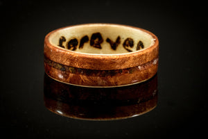 Elm Burr and Maple wooden Ring with a tigerseye gemstone inlay. bentwood ring. Wooden ring. Wedding ring. Womens ring. Mens ring. Bespoke - Sam Hawkins
