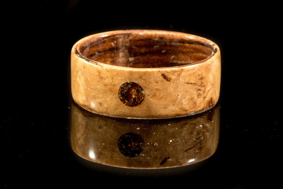 Fir Burr and zebrawood wooden ring with a amber stone inlay. Handmade Wood ring. bentwood ring. Wedding ring. Mens Ring. Womens ring - Sam Hawkins