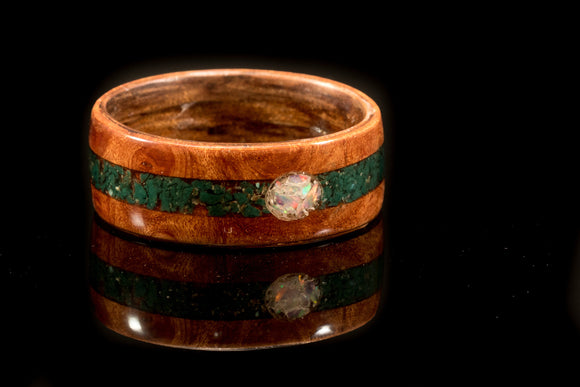 Elm Burr and Kingwood wooden Ring with a jade and opal inlay. bentwood ring. Wooden ring. Wedding ring. Womens ring. Mens ring. - Sam Hawkins