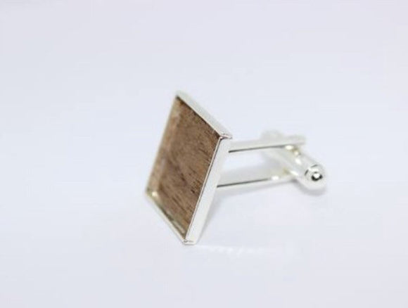 Silver plated cufflinks with a choice of wood inlay - Sam Hawkins