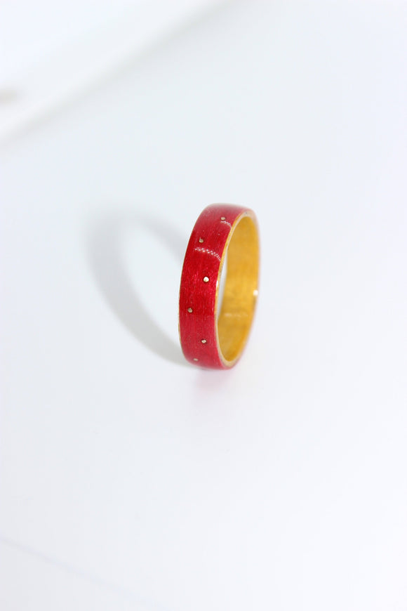 Red & Yellow Tulipwood Ring with 9ct Yellow Gold inlays. Bentwood ring. Wooden ring. Wedding ring. Womens ring. Mens ring. Gold Ring - Sam Hawkins