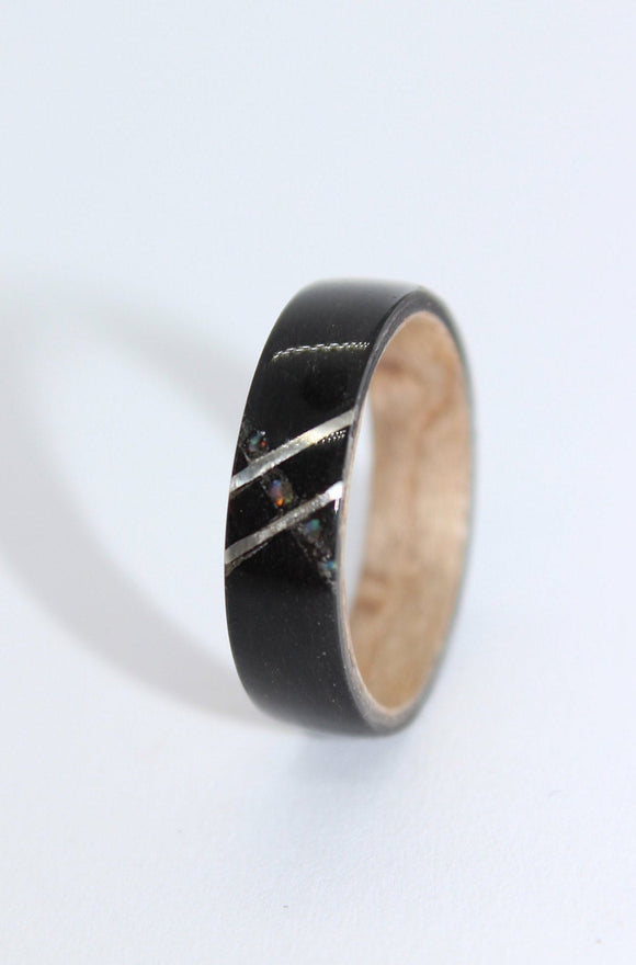 Black Tulipwood and birdseye maple wooden Ring with a silver and opal inlay. bentwood ring. Wedding ring. Womens ring. Mens ring. - Sam Hawkins