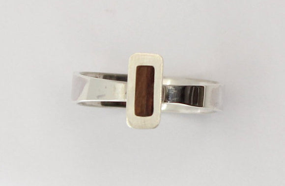 Sterling Silver and burbinga wood ring. Bentwood ring. Wedding ring. Womens ring. Bespoke ring. Mens ring. wood ring - Sam Hawkins
