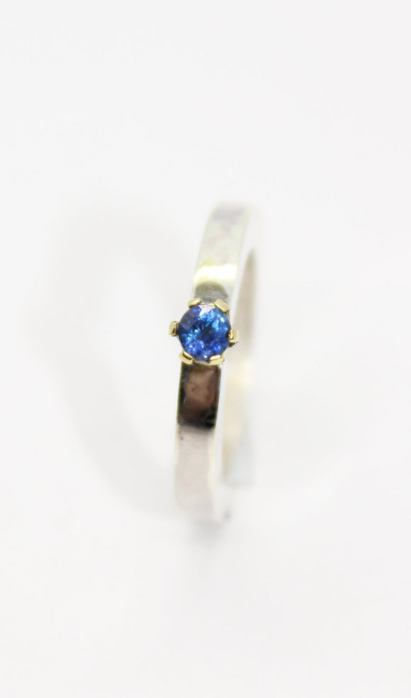 Sapphire ring with a 18ct gold setting and a silver ring. Engagement ring. Unique Ring. Wedding ring. Womens ring. Bespoke ring. custom ring - Sam Hawkins