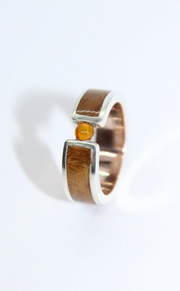 Mokume gane, silver and fir burl tension ring with an amber stone. Tension ring. Wooden ring. Custom ring. Bespoke ring. Engagement Ring. - Sam Hawkins