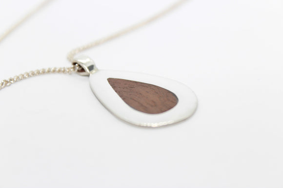 Silver and Mahogany necklace. Silver necklace. Wooden necklace. - Sam Hawkins