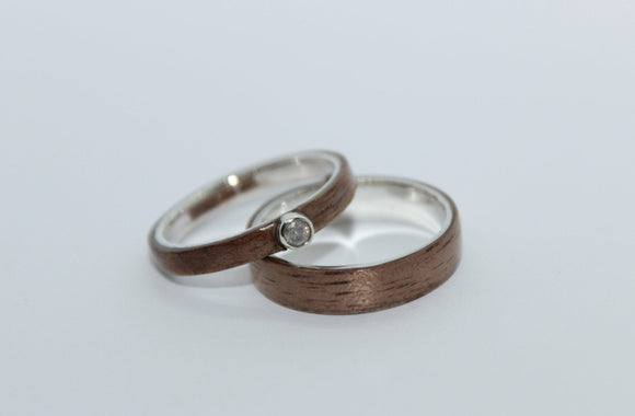 His and Hers Sterling Silver and walnut wooden Ring with set. bentwood ring. Wooden ring. Wedding ring. Womens ring. Mens ring. Bespoke ring - Sam Hawkins