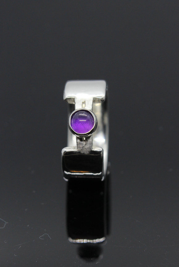 White gold and amethyst ring. Custom ring. Bespoke ring. Engagement Ring. Unique ring. Chunky ring. Wide ring - Sam Hawkins