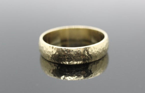 9ct yellow gold hammered rustic wedding band ring. - Sam Hawkins