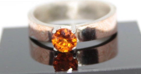 Mokume Gane Ring with a Citrine Setting - Sam Hawkins