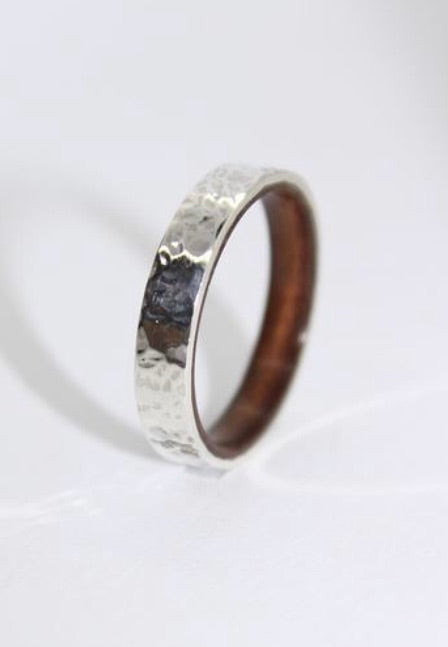 Hammered Sterling Silver and Wood ring - Sam Hawkins