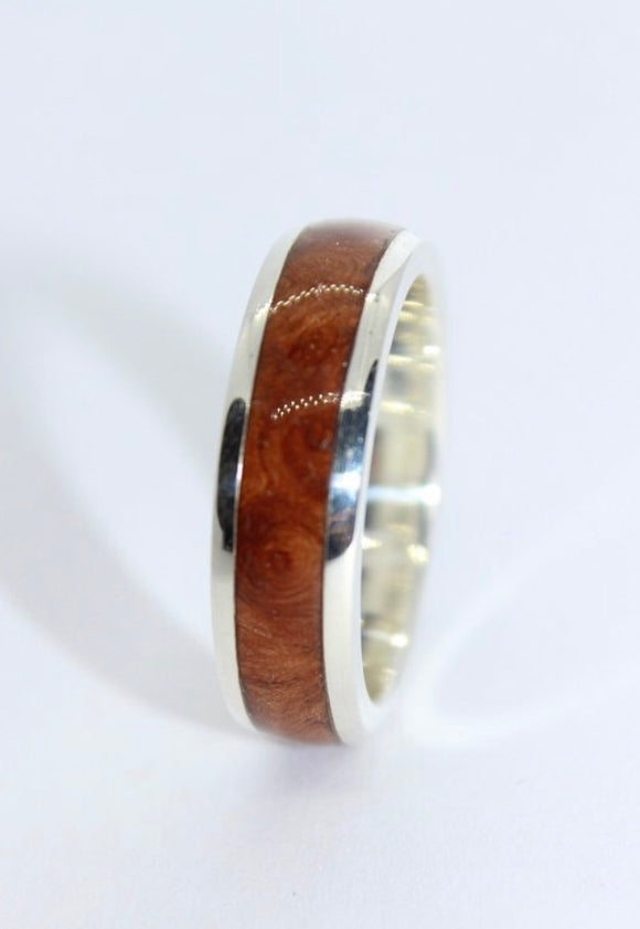 Sterling Silver Lipped Ring With a Wood Inlay - Sam Hawkins
